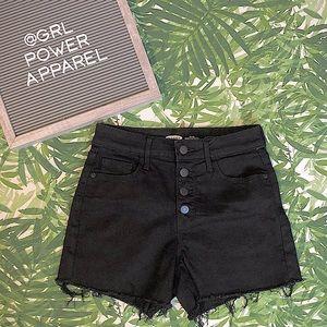 🆕 Black Denim Button-Fly Cutoff Shorts